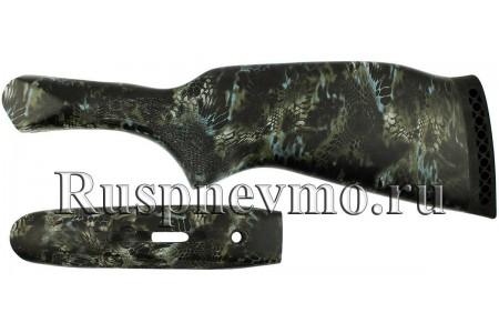 Приклад и цевье ИЖ-43 Камуфляж резин. затыльник